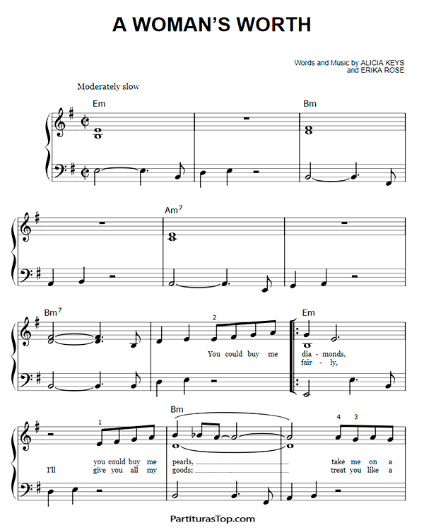 A Woman's Worth Partitura Piano Facil PDF Alicia Keys. A Woman's Worth Partituras Piano Faciles