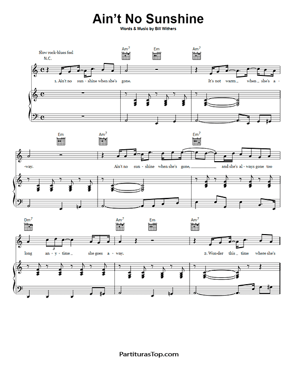 Ain't No Sunshine Partitura Piano PDF Bill Withers Ain't No Sunshine Partitura Piano