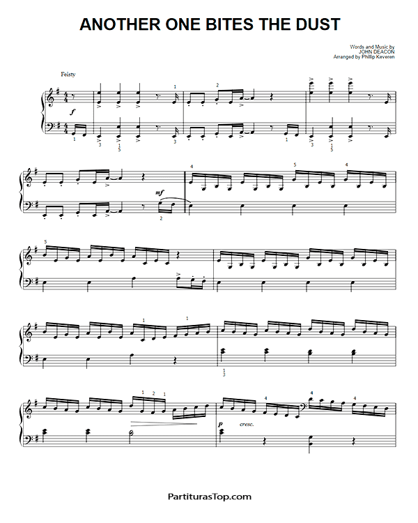 Another One Bites The Dust Partitura Piano Solo PDF Queen Another One Bites The Dust Partitura Piano Solo #1