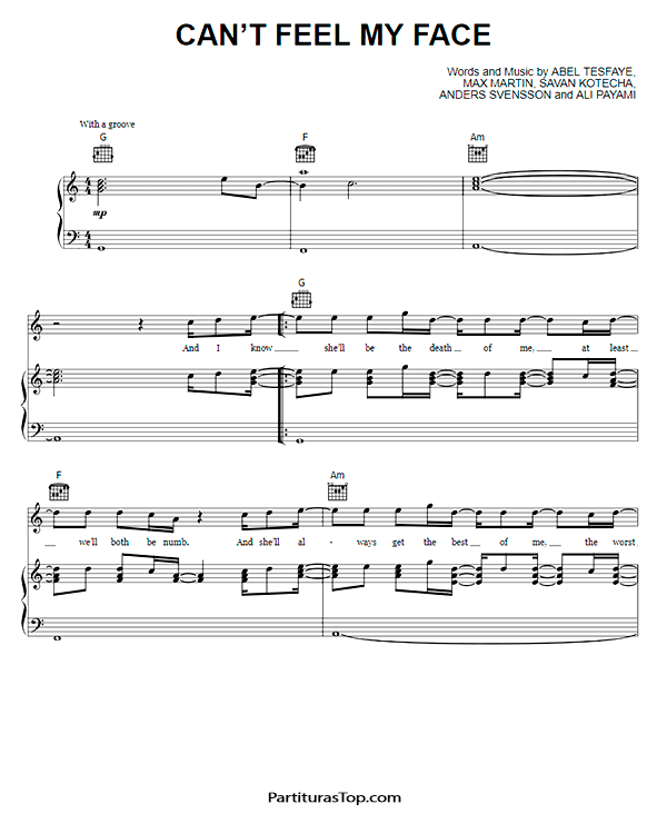 Can't Feel My Face Partitura Piano PDF The Weeknd.