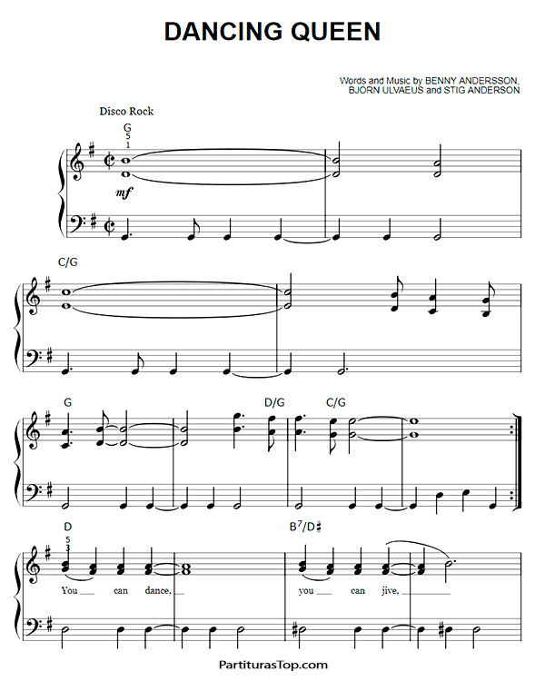 Dancing Queen Partitura Piano Facil PDF ABBA.
