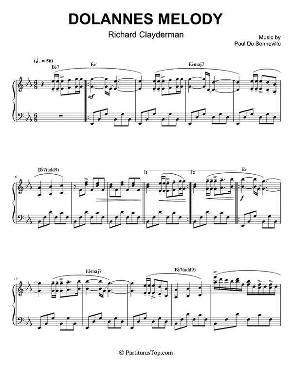 Dolannes Melody Partitura Piano PDF Richard Clayderman Dolannes Melody Partitura Piano