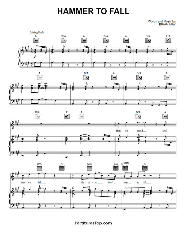Hammer To Fall Partitura Piano PDF Queen Hammer To Fall Partitura Piano