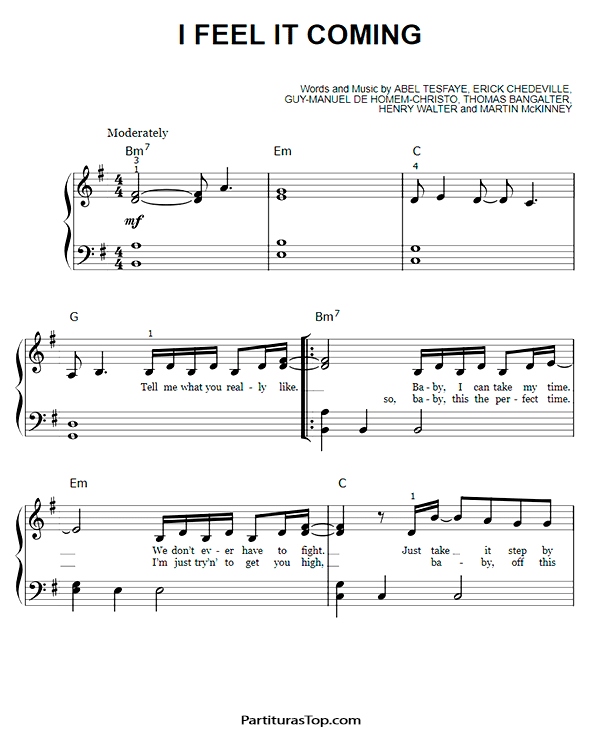 I Feel It Coming Partitura Piano Facil PDF The Weeknd.