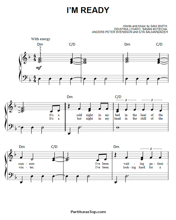 I'm Ready Partitura Piano PDF Sam Smith & Demi Lovato