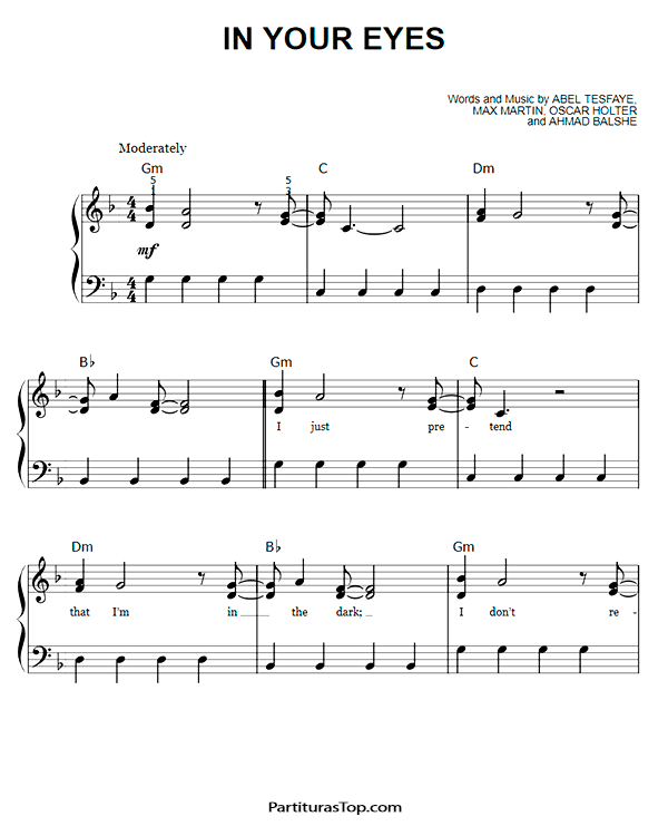 In Your Eyes Partitura Piano Facil PDF The Weeknd.