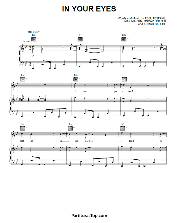 In Your Eyes Partitura piano PDF The Weeknd