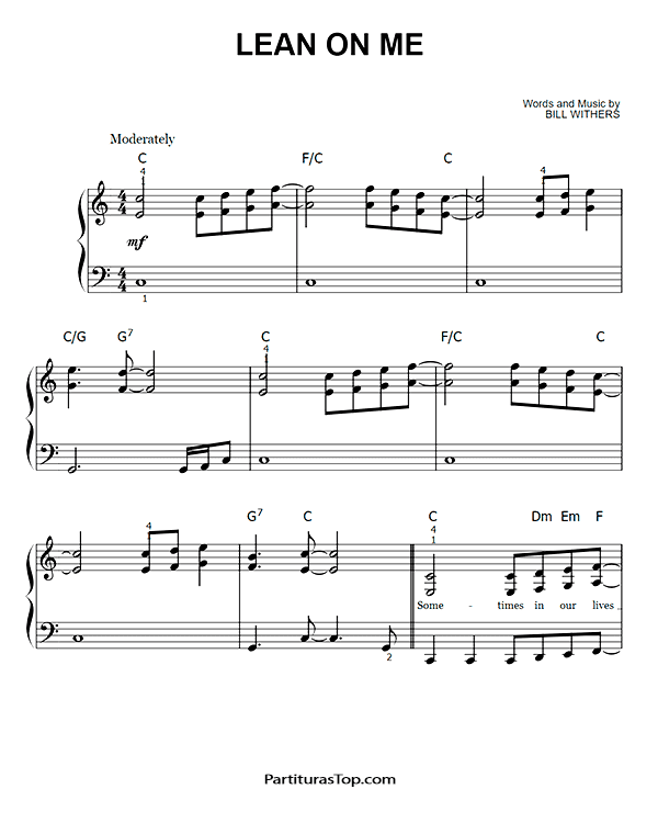 Lean On Me Partitura Piano Facil PDF Bill Withers