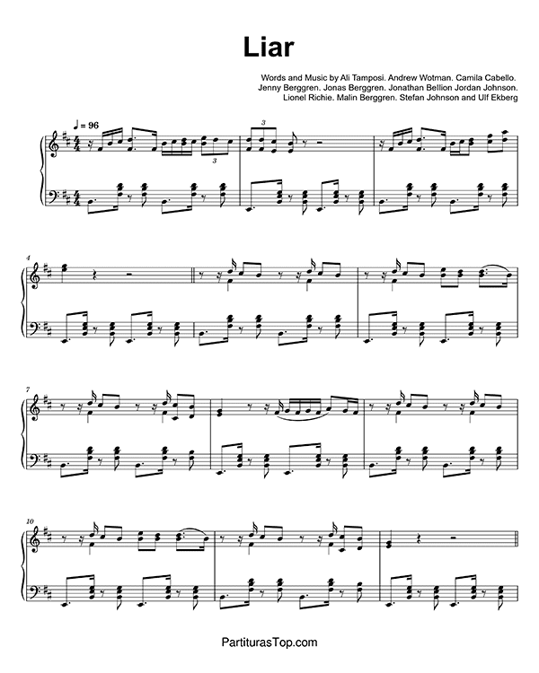 Liar Partitura Piano PDF Camila Cabello Liar Partitura Piano