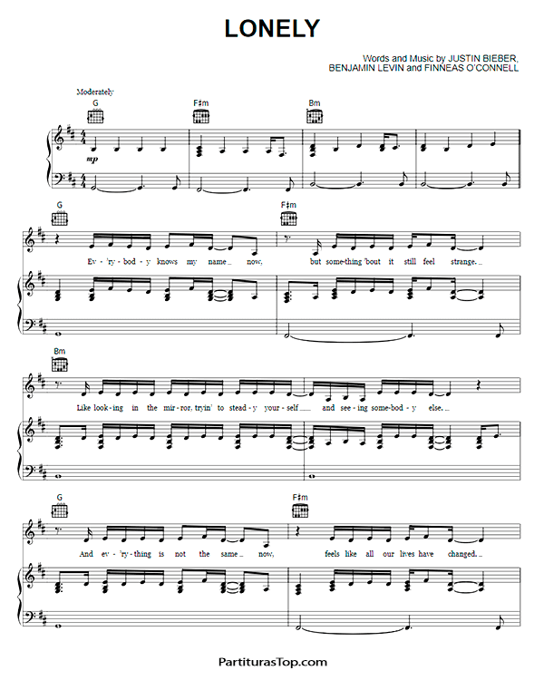 Lonely Partitura Piano PDF Justin Bieber y Benny Blanco Lonely Partitura Piano