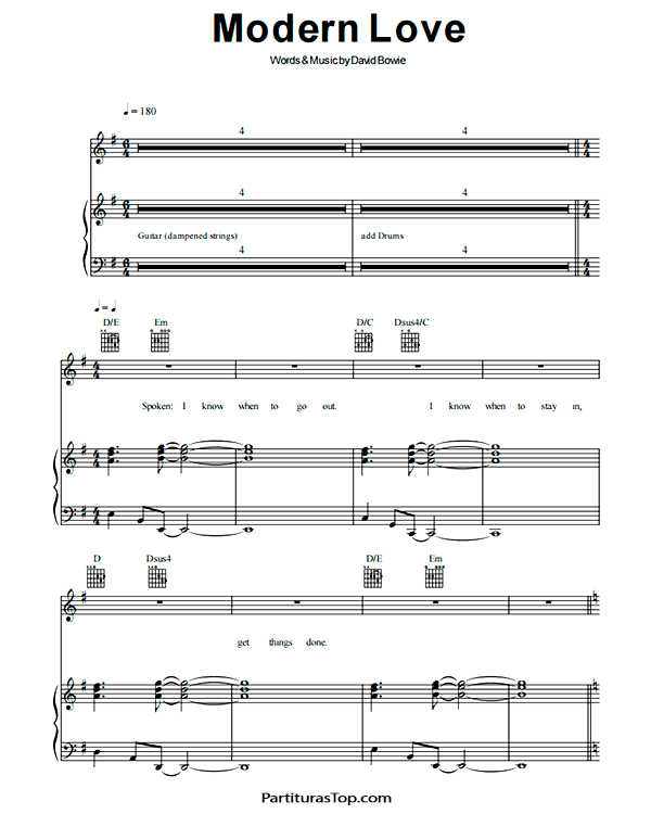 Modern Love Partitura Piano PDF David Bowie Modern Love Partitura Piano