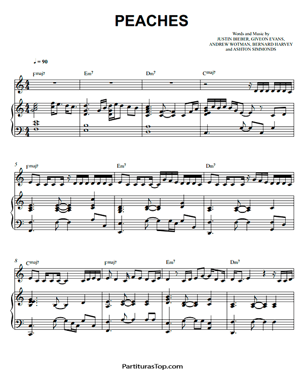 Peaches Partitura Piano PDF Justin Bieber Peaches Partitura Piano
