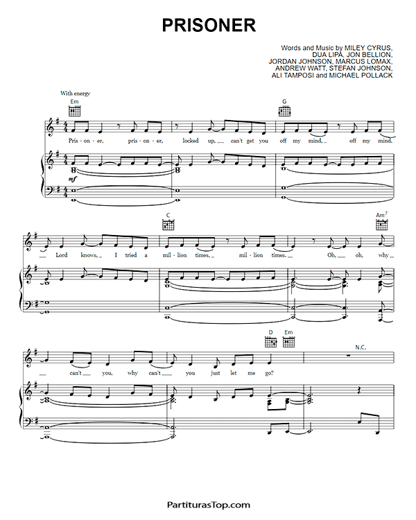 Prisoner Partitura Piano PDF Miley Cyrus Prisoner Partitura Piano