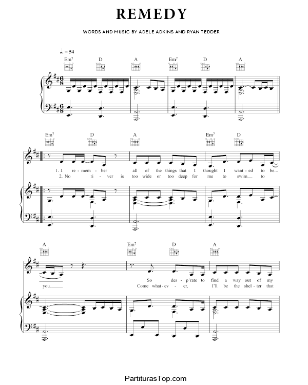 Remedy Partitura Piano PDF Adele Remedy Partitura Piano