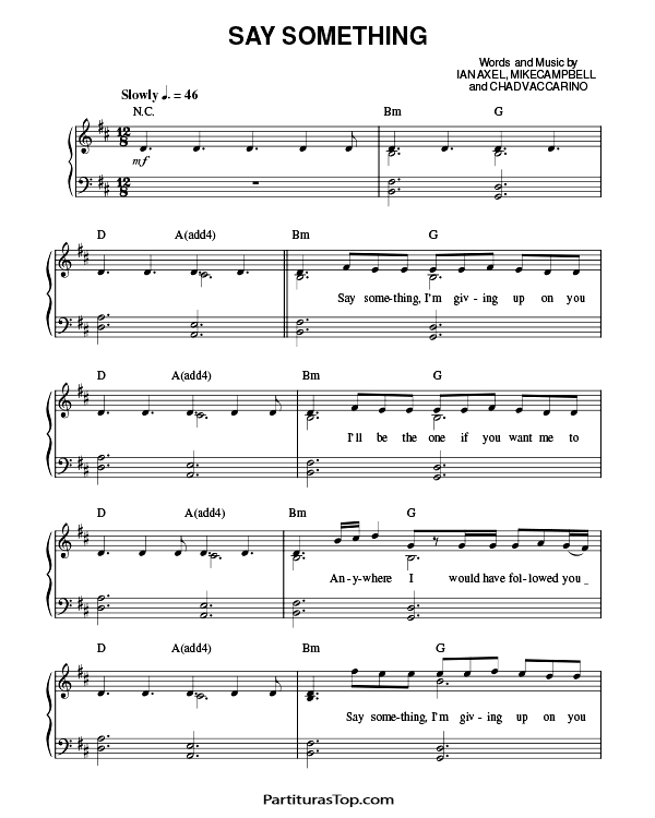 Say Something Partitura PDF A Great Big World Say Something Partitura Piano