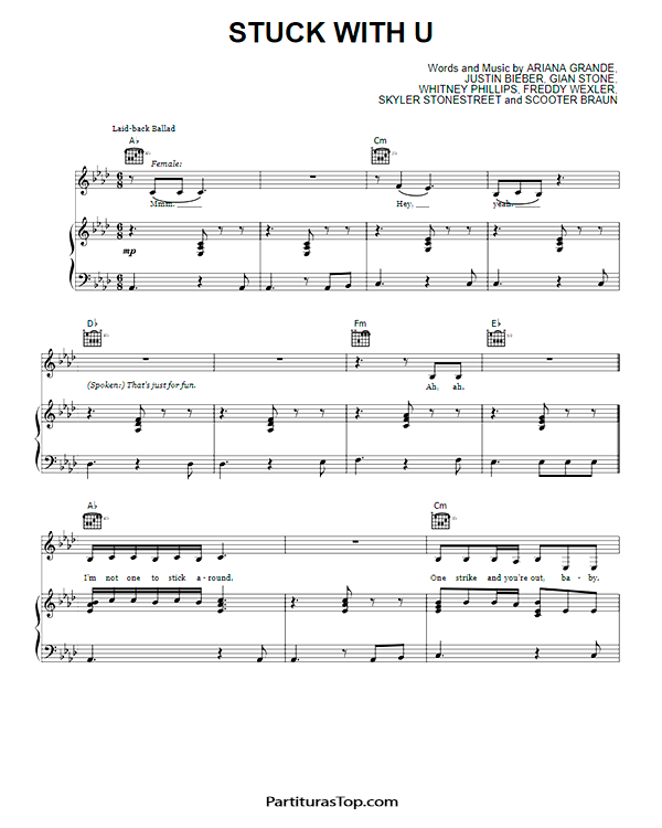 Stuck With U Partitura PDF Ariana Grande & Justin Bieber Stuck With U Partitura Piano