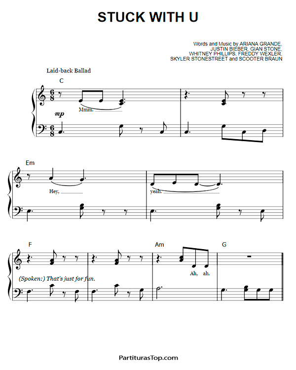 Stuck With U Partitura Piano Facil PDF Ariana Grande & Justin Bieber Stuck With U Partitura Piano