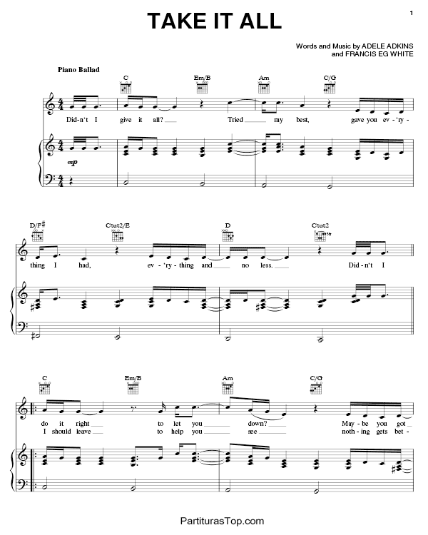 Take It All Partitura Piano PDF Adele Take It All Partitura Piano