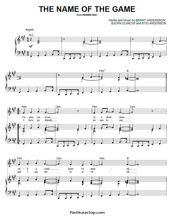 The Name Of The Game Partitura Piano PDF ABBA