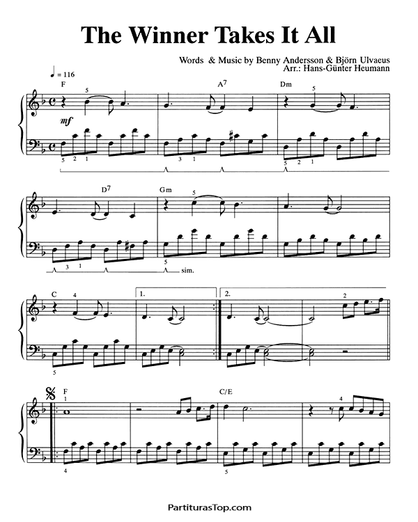 The Winner Takes It All Partitura Piano solo facil PDF ABBA The Winner Takes It All Partitura Piano
