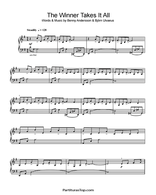 The Winner Takes It All Partitura Piano PDF ABBA The Winner Takes It All Partitura Piano