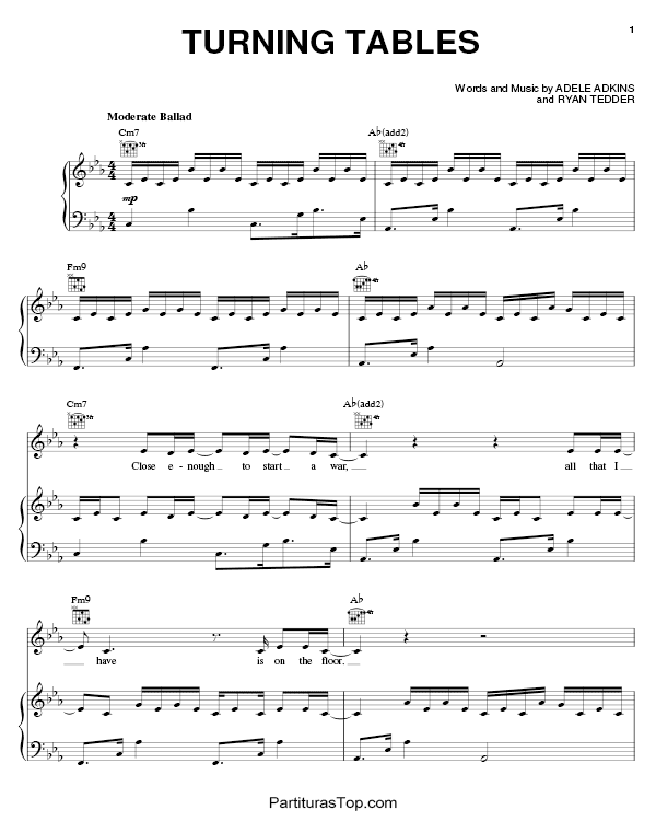 Turning Tables Partitura Piano PDF Adele Turning Tables Partitura Piano