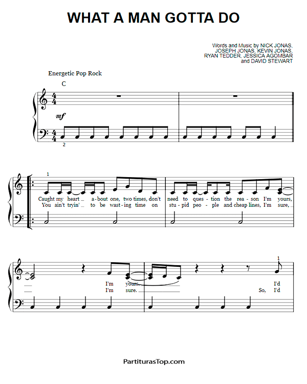 What A Man Gotta Do Partitura Piano Facil PDF Jonas Brothers What A Man Gotta Do Partitura Piano